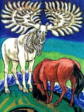 Кінь, корова і білий лось (алтайська казка)