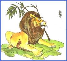 Лев і комарі (українська народна казка)