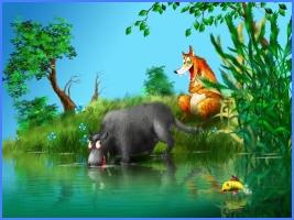 Лисиця та вовк-рибалка (грецька казка)