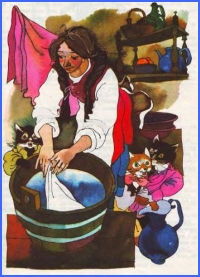 Працьовита дівчина та котенята (італійська казка)